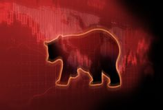 Silhouette form of bear on technical financial graph. Silhouette form of bear on financial stock market graph represent stock market crash or down trend Royalty Free Stock Photography