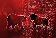 Silhouette form of bull and bear on technical financial graph. Silhouette form of bull and bear on financial stock market graph represent stock market risk or Stock Photos