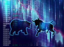 Silhouette form of bull and bear on technical financial graph. Silhouette form of bull and bear on financial stock market graph represent stock market risk or Royalty Free Stock Photos