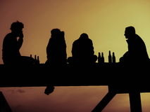 Silhouette of four friend. Drinking beer Royalty Free Stock Photography