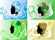 Silhouette of four seasons Stock Photos