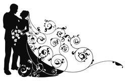 silhouette för modell för bakgrundsbrudbrudgum Royaltyfri Foto