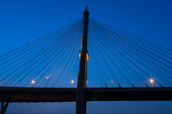 Silhouette of Fragment of a cable stayed bridge Stock Image