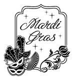 Silhouette frame with carnival masks and artistic written text Mardi Gras. Black and white silhouette label with carnival masks and artistic written text Mardi vector illustration