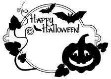 """Silhouette  frame with Halloween pumpkin and text """"Happy Halloween!"""" Royalty Free Stock Photos"""