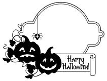"""Silhouette frame with Halloween pumpkin and text """"Happy Halloween!"""" Royalty Free Stock Photo"""