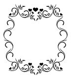 Silhouette frame with hearts Stock Photography