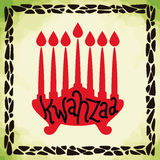 Silhouette Frame of Kwanzaa Candles, Vector Illustration Royalty Free Stock Images