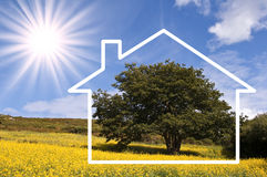 Free Silhouette Frame Of A House, Countryside Landscape Royalty Free Stock Photography - 52741417