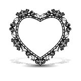 Silhouette frame in the shape of heart. With shadow on white background Royalty Free Stock Image