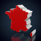 Silhouette of france. Made out of red cubes Stock Image
