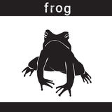 Silhouette Frog In Grunge Design Style Animal Icon. Vector Illustration stock illustration