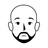 Silhouette front view bald man with moustache Royalty Free Stock Images