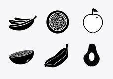 Silhouette fruit icons Stock Image