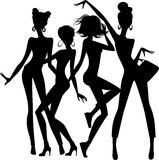 Silhouette of funny girls on white background Royalty Free Stock Image