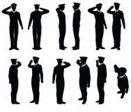 Silhouette générale d'armée avec la salutation de geste de main Image stock