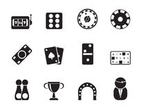 Silhouette gambling and casino Icons Stock Photography
