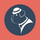 Silhouette gangster dog in the mafia hat. Vector illustration Stock Photos