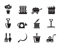 Silhouette Garden and gardening tools icons Royalty Free Stock Photos