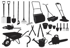 Silhouette garden tools Royalty Free Stock Image