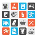 Silhouette Gas Station Services Icons Stock Image