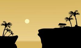 Silhouette of gazebo in cliff Stock Photo