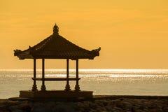 Silhouette gazebo on the dawn in island Bali, Indonesia Royalty Free Stock Photography