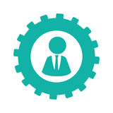 Silhouette gear wheel with executive male Royalty Free Stock Photos