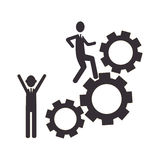Silhouette gear wheel icon and men figure Royalty Free Stock Photos