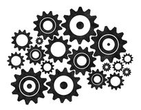 Silhouette gears on a white background Stock Photos