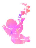 Silhouette gentle watercolor baby with wings and hearts.  Stock Image