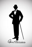 Silhouette of a gentleman in a tuxedo Stock Photos