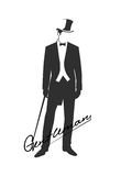 Silhouette of a gentleman in a tuxedo. On the image is presented silhouette of a gentleman in a tuxedo stock illustration