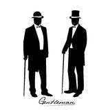 Silhouette of a gentleman in a tuxedo Royalty Free Stock Photo