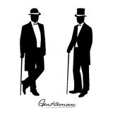 Silhouette of a gentleman in a tuxedo. On the image  is presented silhouette of a gentleman in a tuxedo Stock Photos