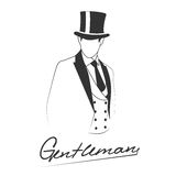 Silhouette of the gentleman on white background with place for your text Royalty Free Stock Photo