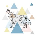 Silhouette of a geometric wolf. Side view. Scandinavian style. Vector illustration stock illustration