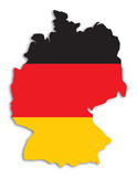 Silhouette of Germany. Outline of Germany filled with german flag - includes clipping path (without drop shadow Stock Photography