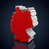 Silhouette of germany. Made out of red cubes Stock Photography
