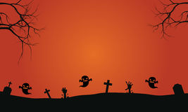Silhouette of ghost in graves halloween backgrounds Royalty Free Stock Image