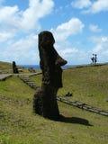 Silhouette of a giant statue of Moai, Rano Raraku, Easter Island royalty free stock image