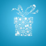 Silhouette gift box filled with snowflake Stock Photography