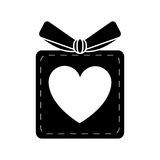 Silhouette gift box heart love present. Vector illustration eps 10 Stock Photography