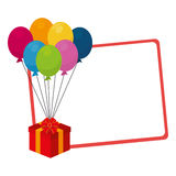 Silhouette with gift card with balloons and gift box Stock Photos