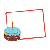 Silhouette with gift card with cake Stock Photo