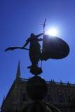 Giraldillo. Silhouette of Giraldillo - famous weathervane (16th century), Sevilla royalty free stock photo