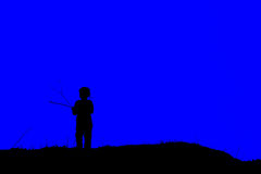 Silhouette of a girl. Silhouette of a little girl on a blue background Royalty Free Stock Images