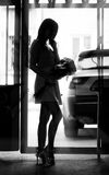 Silhouette of girl Stock Photo