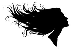 Silhouette of a girl. In profile with long hair, vector illustration Stock Photos