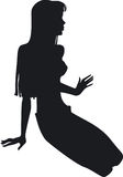 Silhouette of the girl. Silhouette of the beauty sitting girl Stock Images